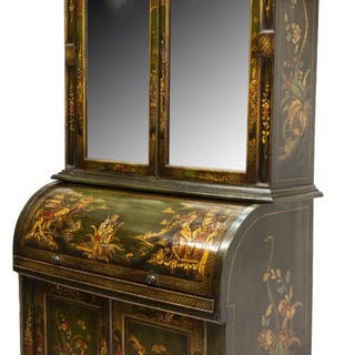 CHINOISERIE JAPANNED DECORATED SECRETARY DESK