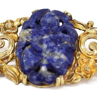 CHINESE GILT STERLING SILVER CARVED LAPIS BROOCH