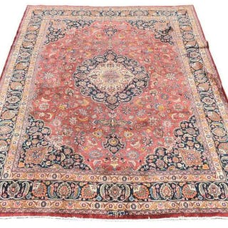 "HAND-TIED PERSIAN SIGNED MASHAD RUG, 12'7"" X 9'8"""