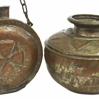 (2) PERSIAN TINNED COPPER CANTEEN & WATER VESSEL