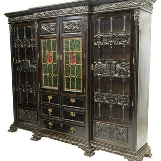 SPANISH RENAISSANCE REVIAL STAINED GLASS BOOKCASE