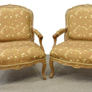 (2) CENTURY FURNITURE LOUIS XV STYLE ARMCHAIRS
