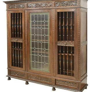 ITALIAN RENAISSANCE REVIVAL STAINED GLASS BOOKCASE