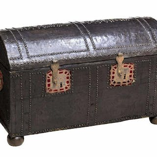 "SPANISH BAROQUE LEATHER WRAPPED TRUNK, 22""h, 36""w"