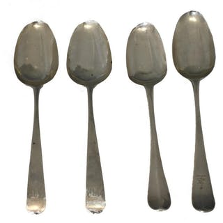 (4) ENGLISH STERLING SILVER SPOONS, 18TH C.