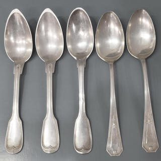 (5) AMERICAN & FRENCH SILVER TABLESPOONS