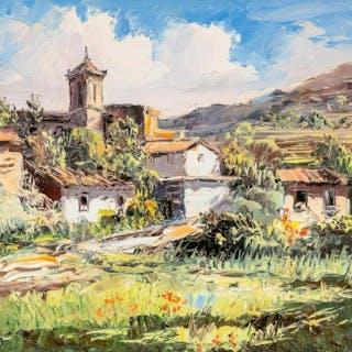 "Jose Vives-Atsara (1919-2004), ""Pueblo en la Montana"""