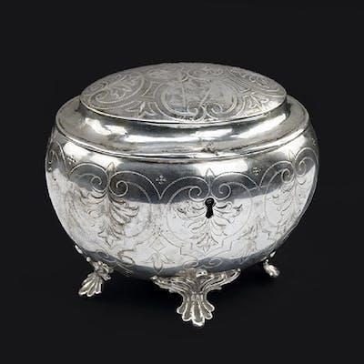 An Austrian Silver Tea Caddy.