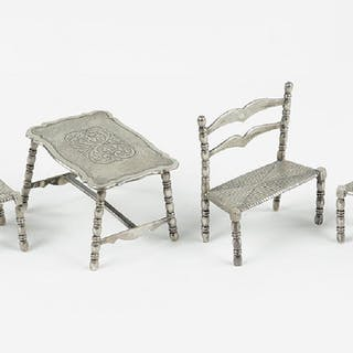 A Suite of Dutch Silver Miniature Furniture.