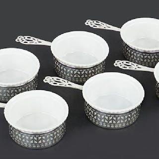 A Set of Six Gorham Sterling Silver Pots de Creme.