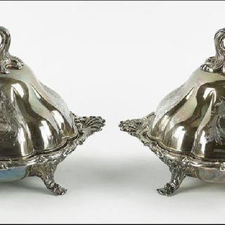 A Pair of English Silverplate Entree Servers.