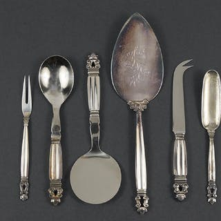 A Collection of Georg Jensen Sterling Silver Serving
