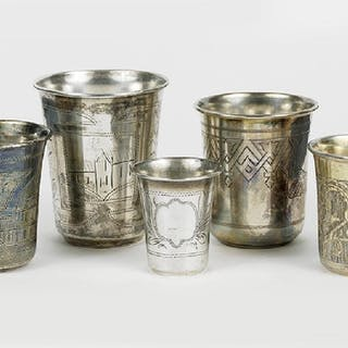 Five Russian .84 Silver Kiddush Cups.