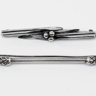 A Hans Hansen Sterling Silver Thistle Form Kilt Pin.