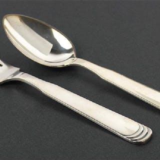 A Set of Twelve Hans Hansen Sterling Silver Ripple