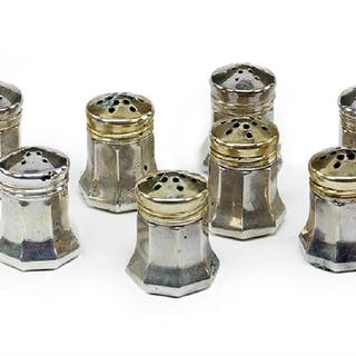 A Set of Eight Cartier Sterling Silver Salt and Pepper