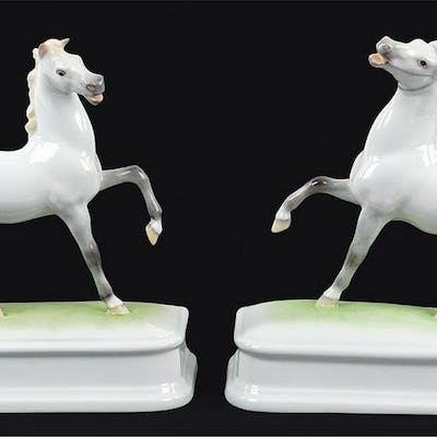 A Pair Of Herend Porcelain Horses.
