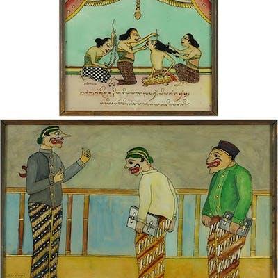 Istlorini (Indian, 20th Century) Comic Figures.