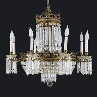 A 16-Light Crystal Chandelier.