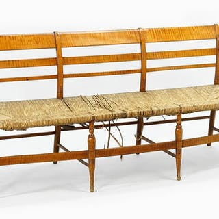 An American Tiger Maple Settee.