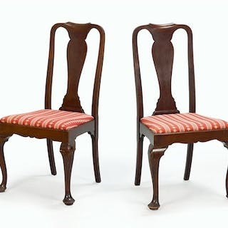 A Pair of 19th Century Queen Anne Mahogany Side Chairs.