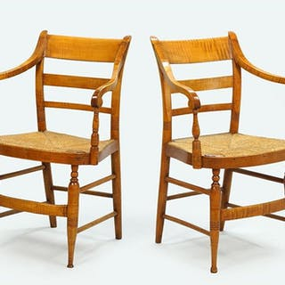 A Pair of Tiger Maple Open Armchairs.