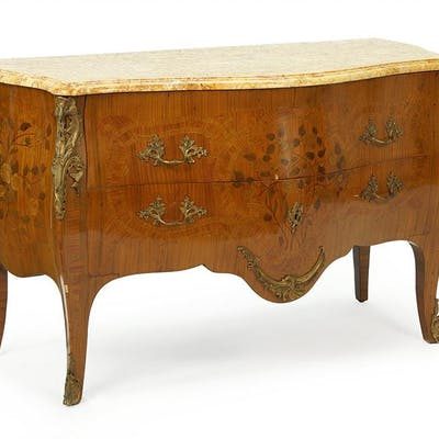 A French Bombe Marble Top Chest.