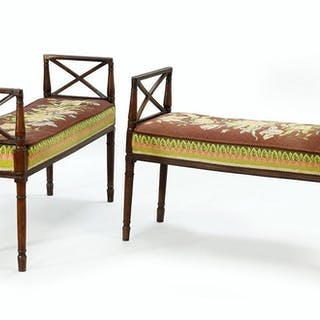 A Near Pair of Adam Style Window Benches.