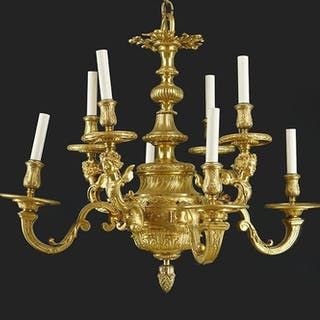A Gilt Bronze Eight-Light Chandelier.