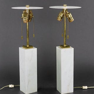 A Pair Of Hansen Marble Table Lamps.