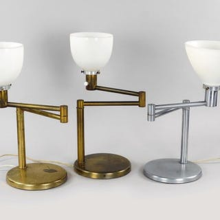 A Pair Of Von Nessen Swing-Arm Table Lamps.