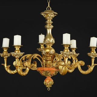 A French Gilt Wood Six-Light Chandelier.