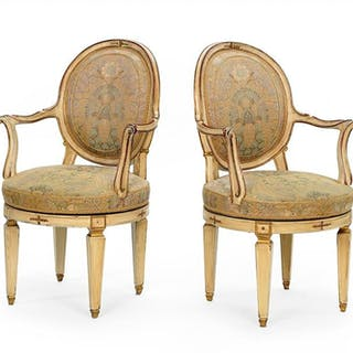 A Pair of Italianate Louis CVI Style Chairs.