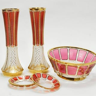 A Pair of Moser Cranberry and Clear Glass Vases.