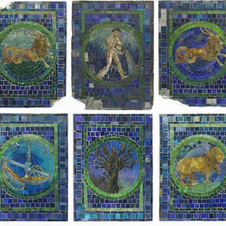 A Collection of Tiffany Studios Mosaic Glass Zodiac