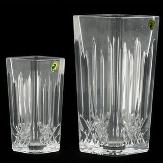 Two Waterford Crystal Diamond Form Vases.