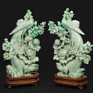 A Pair of Chinese Carved Hardstone Phoenixes.