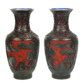 A Pair of Chinese Lacquer and Cinnabar Vases.
