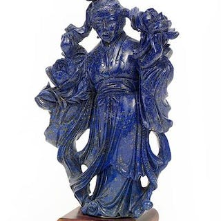 A Chinese Carved Lapis Figure of Guan Yin.