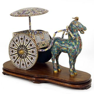A Chinese Cloisonne Horse and Rickshaw.