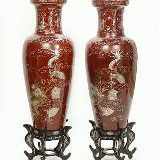 A Pair of Chinese Lacquered Floor Vases.