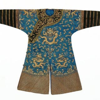 A Chinese Embroidered Silk Dragon Robe.