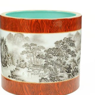 A Chinese Grisaille Decorated Porcelain Brush Pot.