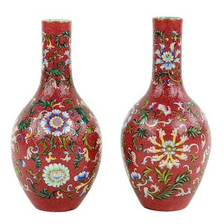 A Pair of Chinese Sgraffito Ground Porcelain Vases.