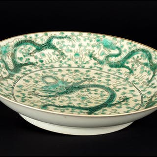 A Chinese Porcelain Dragon Dish.