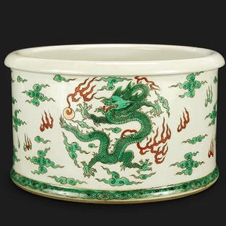 A Chinese Famille Verte Porcelain Jardiniere.