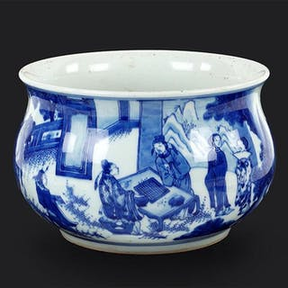 A Chinese Blue and White Porcelain Jardiniere.