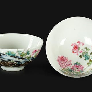 A Pair of Chinese Famille Rose Porcelain 'Quail' Cups.