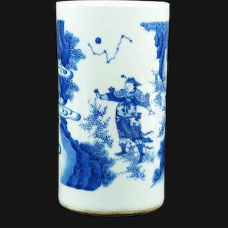 A Chinese Blue and White Porcelain Brush Pot.