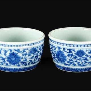 A Pair of Chinese Blue and White Porcelain Cups.
